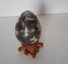 pink tourmaline  egg with rosewood stand crystal gemstone 147 gram (self love)