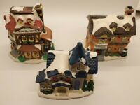 Lot of 3 Christmas Village Buildings School, Church, Country Hotel.