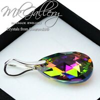 925 Sterling Silver Pendant Crystals from Swarovski® Pear/Almond 22 mm -Colours