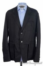 HELMUT LANG Solid Black Cotton Twill Mens Blazer Sport Coat Jacket - 46
