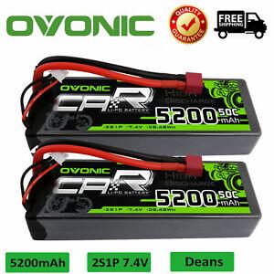 2Pcs 5200mAh  50C 7.4V 2S Lipo Battery Deans Plug Hardcase For RC Car Truck Boat