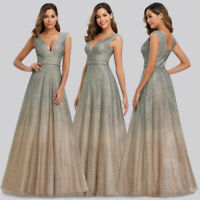 Ever-Pretty Sequin V-neck Long Bridesmaid Dresses Bodycon Cocktail Ball Gown UK
