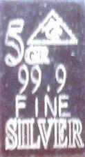 10 x 5 GRAINs PURE .999 FINE SOLID SILVER BULLION BAR INGOT (NOT GRAM)
