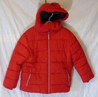 Boys John Lewis Red Puffa Padded Hooded Warm Fleece Lined Coat Age 5 Years