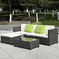 5Pc Outdoor Patio Sofa Set Furniture Pe Wicker Rattan Deck Couch Gradient Brown