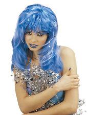 azul de mujer BRILLO Peluca Hada Reina Pantomima bruja Halloween Navidad Sirena