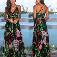 Summer Women Boho Floral Printed Dresses Fashion Party Evening Long Maxi Dress