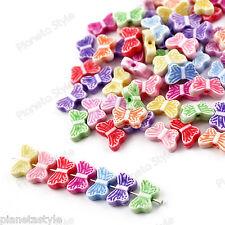 100x Distanziatori Perle Perline Acrilico FARFALLA Colori Misti 12x7mm