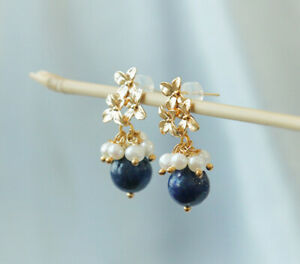 B12 Earrings Freshwater Pearls With Blue Lapislazuli Gold Plated Leaves