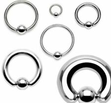 Pair of Surgical Steel Captive Bead Ring Nipple Eyebrow Septum CBR 20 -00 Gauge