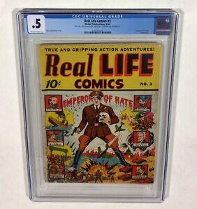 Real Life Comics #3 CGC 0.5 KEY (Alex Schomburg Classic Hitler cover) 1942 Nedor