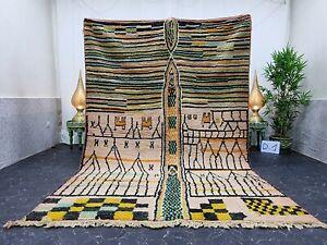 "Moroccan Boujaad Handmade Rug 6'4""x9'5"" Berber Patchwork Yellow Black Wool Rug"