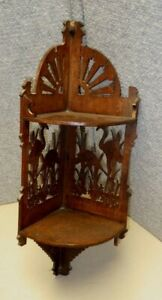 Antique Victorian Aesthetic Wall Mount Corner Shelf Heron Fans Wood