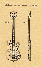 """Patent Print - Epiphone """"Scroll"""" Bass - Music Art. Ready To Be Framed!"""