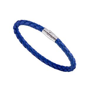 Fine!! Women Men Genuine Braided Leather Steel Magnetic Clasp Bracelet Bangle
