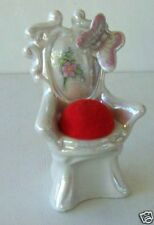 Small Porcelain Victorian Chair with Butterfly and Pin Cushion Seat