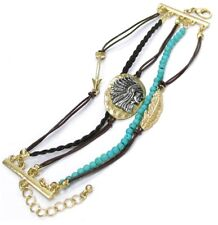 5 STRAND GOLD SILVER INDIAN HEAD TURQUOISE BEADS FAUX LEATHER BRAID BRACELET