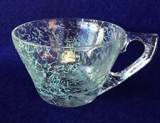 Vintage Clear Glass Coffee Tea Cups with light green splatter design set of 4