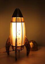 Wooden Table Lamp Shining Rocket, Bedside Lamp for Boys, Night light