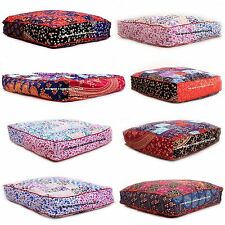 10 PC Wholesale Lot Patchwork Indian Square Floor Pillow Cover Oversized Daybed