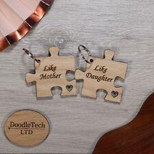 Set of Like Mother Like Daughter Laser Cut Oak Keyrings, Gift Her, Wooden, Mum