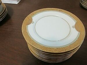"Hutschenreuther Selb LHS Bavaria Gold Encrusted TEN 6-1/4"" Plates Favorit"