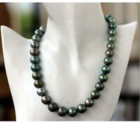 """stunning AAA 10-11 mm black green Tahitian round pearl necklace 18"""" 14K CLASP"""
