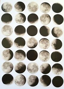 45 MOON STICKERS/LUNAR PHASES ECLIPSE STICKER/-SPACE/PLANETS-BLACK/WHITE-4CM