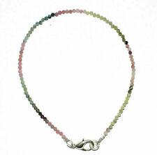 "925 Sterling Silver Natural Multi Tourmaline Gems 2mm 5-10"" Jewelry Bracelet VF5"