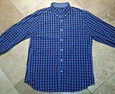 Nautica Button Front Long Sleeve Shirt Plaid Cotton Blue L