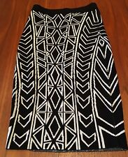 BLESSED ARE THE MEEK NWT Black White Triangle Metric Stretch Knit Skirt 6 XXS