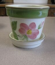 FRANCISCAN FLOWER PATTERNED SMALL PLANTER WITH SAUCER