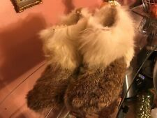 mans  Low Rabbit Fur & fox fur  Handmade sheepskin Boots  41 us 8