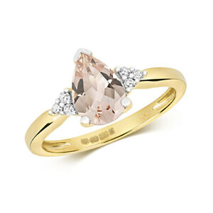 9ct Yellow Gold Diamond and Pear Cut Morganite Cocktail Ring