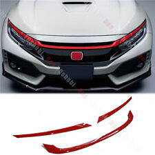 Fits For 2016-2018 Honda Civic Type-R Style Red Front Grill Grille Cover Trim