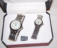 New Geneva Mens & Women's Silver Tone Classic Collection Watch Set Quartz NIB