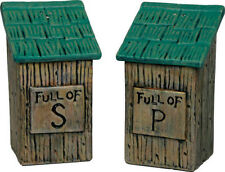 """OUTHOUSE """"Full of..."""" SALT & and PEPPER SHAKER Set Ceramic Country Cabin Decor"""