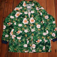 Animal Kingdom Tropical Jungle Floral Tree Frog 100% Cotton Scrubs Top Jacket L