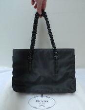 Authentic PRADA Black Nylon & Leather Handbag B7692 w/Authenticity Card