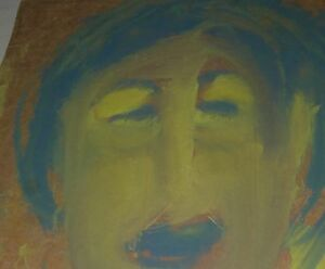 Sybil Gibson folk art painting  Outsider -Portrait #6    17x 20 blue   yellow
