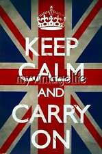 """""""KEEP CALM and CARRY ON"""" Union Jack Quilting Fabric Block 5x7"""