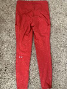 Womens Lululemon x Barry's Red Yoga Leggings Running Athletic Sz 10 $100+ Crosft