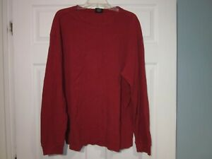 VINTAGE STRUCTURE RED  THERMAL WEAVE LONG SLEEVE KNIT SHIRT, MENS XL, # 340
