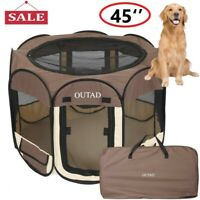 "45"" 600D Oxford Portable Pet Dog Puppy Soft Tent Playpen Dog Cat Folding Crate"