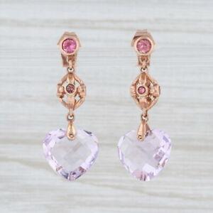 New Amethyst Heart Pink Tourmaline Dangle Earrings 10k Rose Gold Pierced Drop