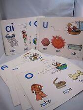 Vtg 70s Grade School Alphabet Wall Flash Card Art Illustration Milton Bradley