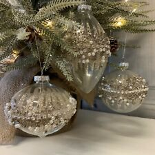 3 x Glass Gold Beaded Jewel Glitter Baubles Vintage Chic Christmas Victorian