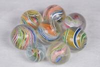 "8 Antique Vintage Lot of Glass Marbles German Handmade Swirls 1"" shooters German"