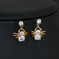 Children Girls Kid Security Crystal Spider Stud earrings Jewelry 14k Gold Filled