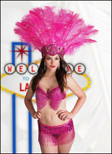 XL Fuchsia Pink Ostrich Feather Sequin Headdress Showgirl Carnival Drag Costume